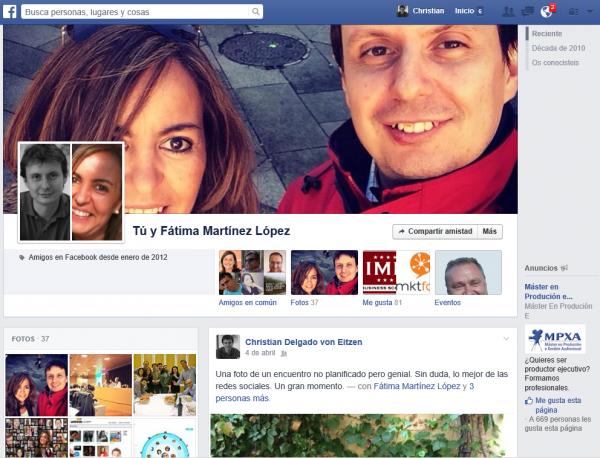 Página de amistad (publicaciones en las que intervienen los dos amigos de Facebook de manera simultánea)