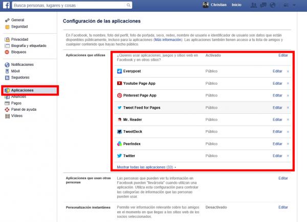Aplicaciones autorizadas en Facebook