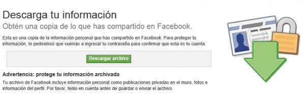 Descarga tu información de Facebook