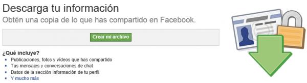 Crear archivo - Descarga tu información de Facebook