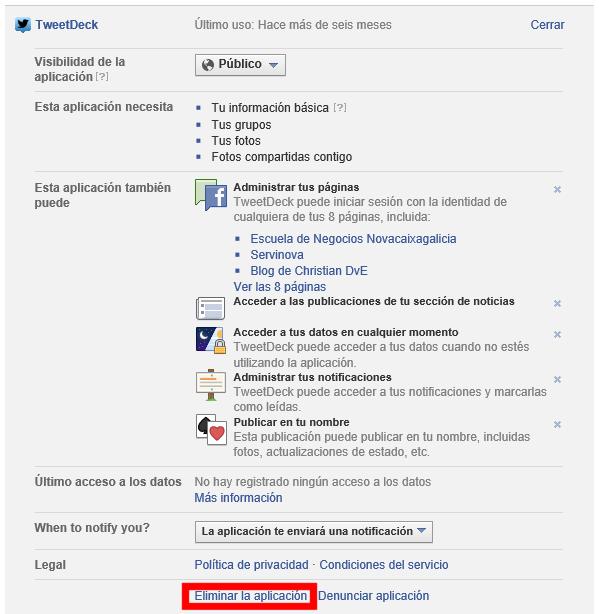 Editar y eliminar aplicación de Facebook