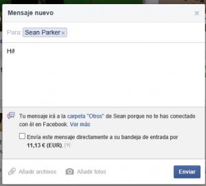 Mensaje privado por Facebook a Sean Parker