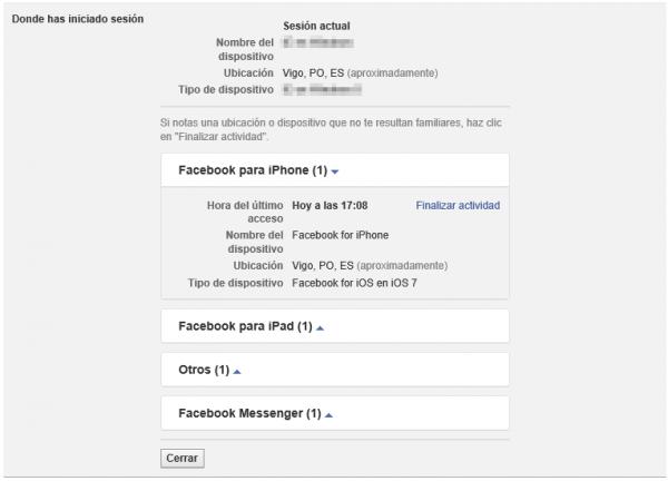 Sesiones actuales de Facebook