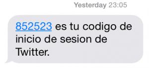 SMS con el código de inicio de sesión en Twitter