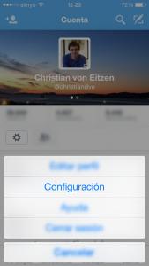 Apartado de configuración en la app de Twitter para iPhone