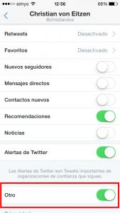 """Activar notificaaciones """"otros"""" (para permitir los inicios de sesión validados con la app)"""