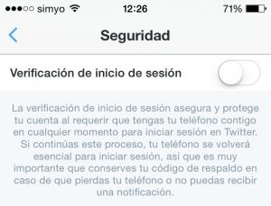 Activar la verificación de inicio de sesión en Twitter usando la app