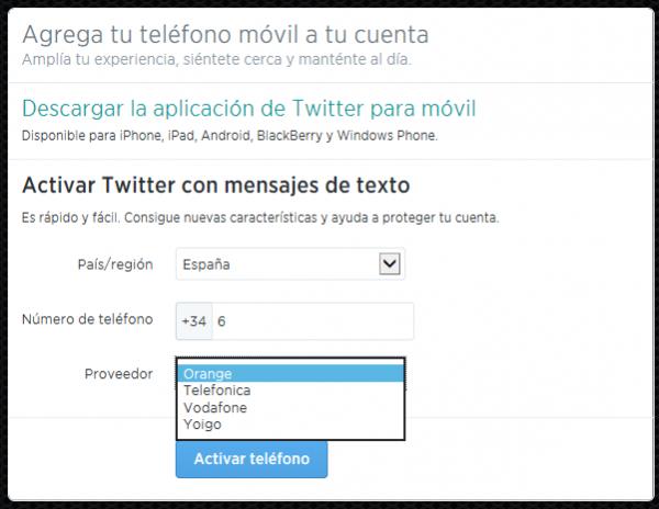 Agrega tu teléfono a tu cuenta de Twitter