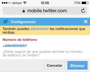 Confirmar número de teléfono en la web móvil de Twitter