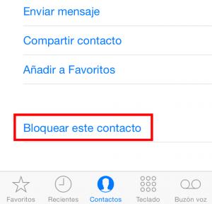 Bloquear contacto en el iPhone