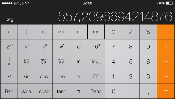Calculadora científica en el iPhone o iPod touch
