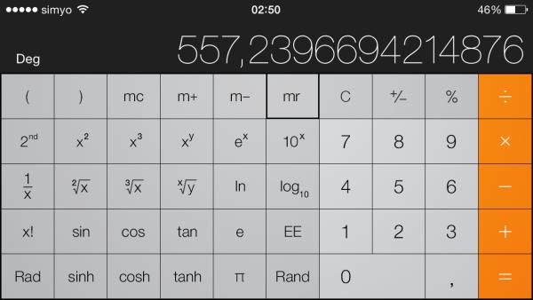 Calculadora científica en el iPhone o iPod touch