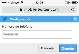 Añadir número de teléfono a la web móvil de Twitter
