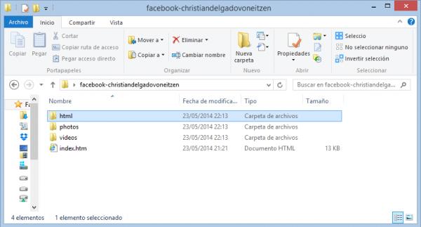 Contenido de la carpeta una vez descargado el fichero de Facebook con todos los datos