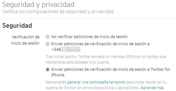 Permitir verificaciones de inicio de sesión en Twitter vía app