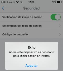 Éxito - verificar inicio de seión en Twitter vía app