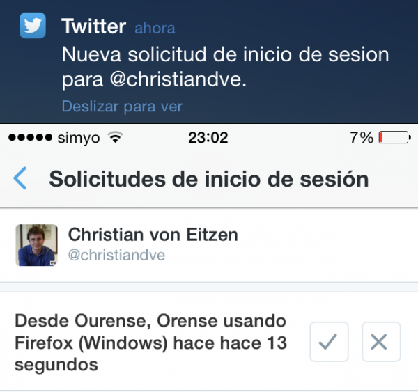Nueva solicitud de inicio de sesión en Twitter - Aviso en el iPhone (no es muy exacto, ni estoy en Orense ni uso Firefox)