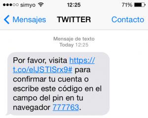SMS de Twitter para confirmar mi cuenta