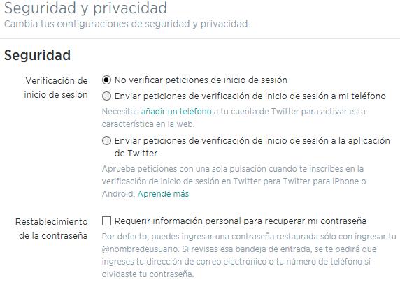 Seguridad y privacidad en Twitter - Ajustes