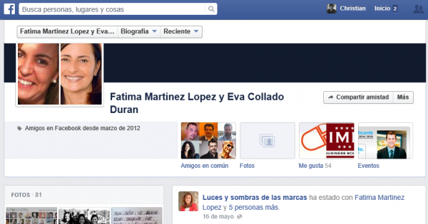 Historial de amistad entre Fátima Martínez López y Eva Collado Durán