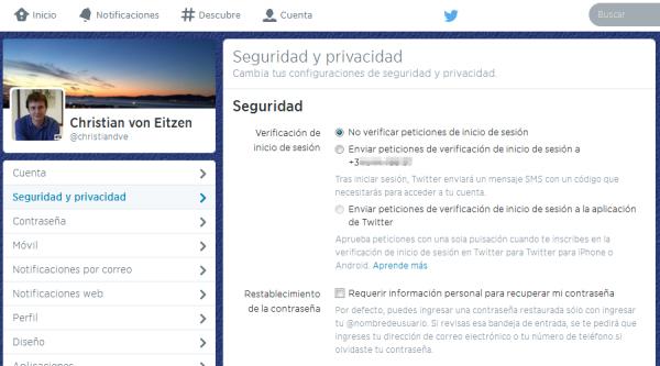 Ajustes de Twitter - Seguridad y privacidad con el número de móvil ya asociado