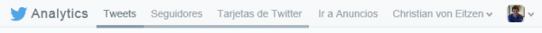 Barra de Twitter Analytics
