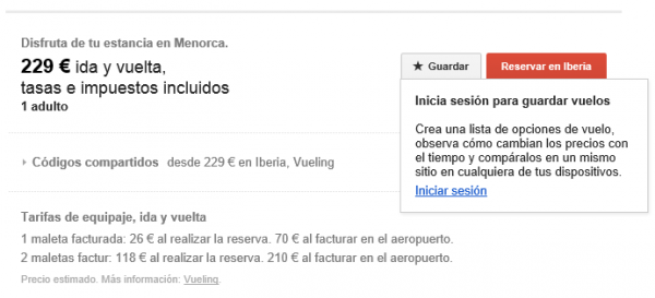 Google flight search - Reservar o guardar