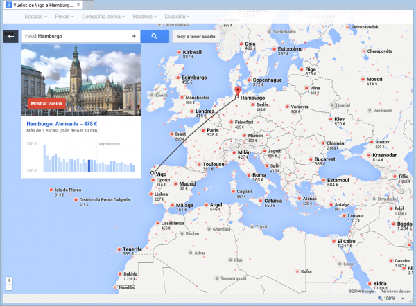Google Flight search para localizar un viaje interesante