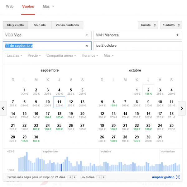 Google flight search Vigo-Menorca tarifas