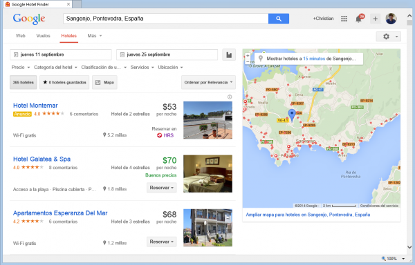 Resultados de Google Hotel Finder