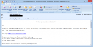 Correo electrónico de WhatsApp por la cuenta suspendida