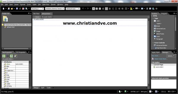 Microsoft Expression Web en ejecución