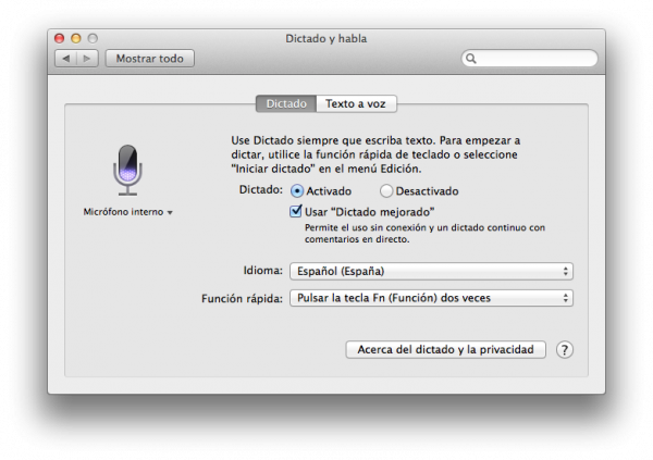 Dictado y habla con dictado mejorado en Mac OS X Mavericks