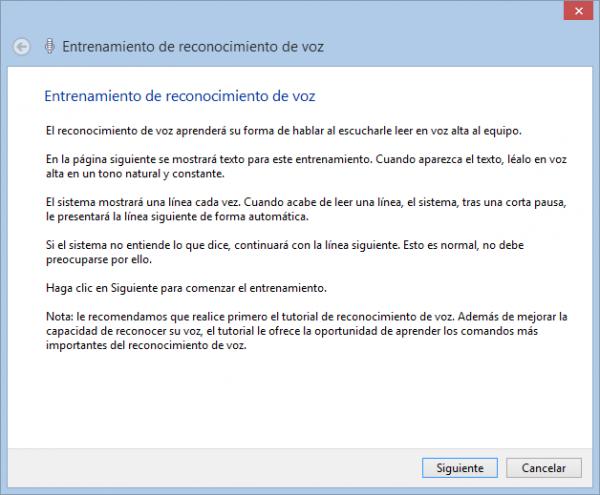Entrenamiento del reconocimiento de voz en Windowsç