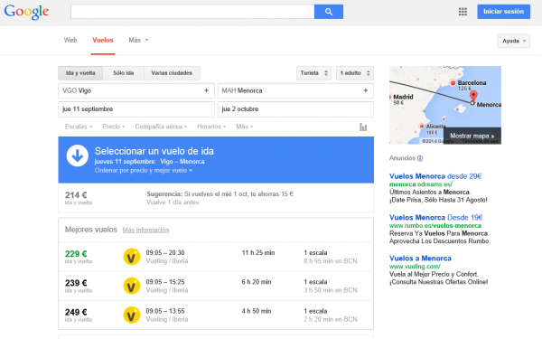 Google flight search Vigo-Menorca
