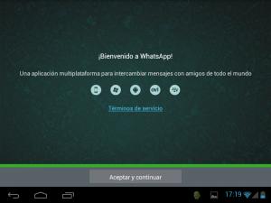 Bienvenido a WhatsApp (en una tableta Android)