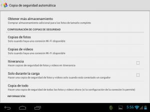 Google+ en Android: copia de seguridad de fotos y vídeos