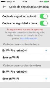 Google+: ajustes de la carga de fotos