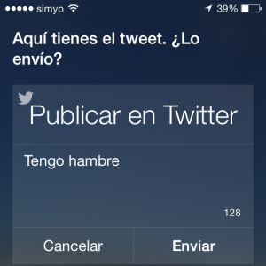 Publicar en Twitter usando Siri