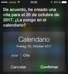 Crear una cita con Siri
