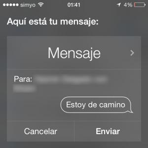 Siri, dile que estoy de camino enviando un mensaje