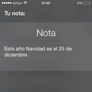 Crear una nota con Siri