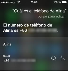 Siri, ¿Cuál es el teléfono de Alina?