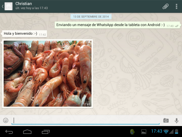 Usando WhatsApp en una tableta con Android