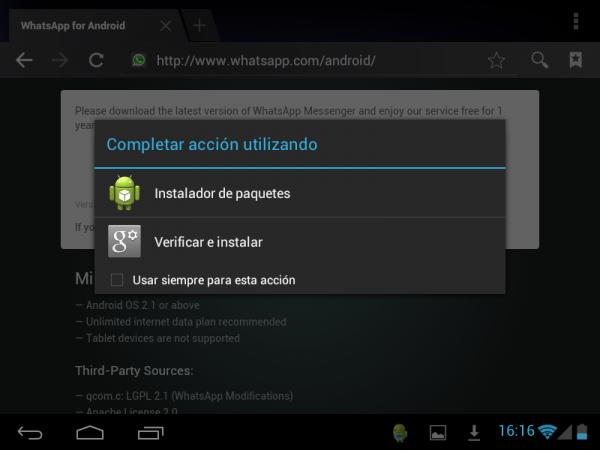 Completar la acción con el instalador de paquetes en Android para poner WhatsApp