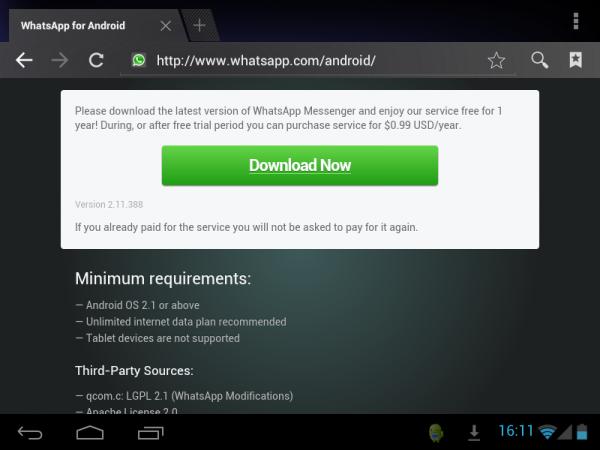Instalar WhatsApp en un tablet con Android visitando su web