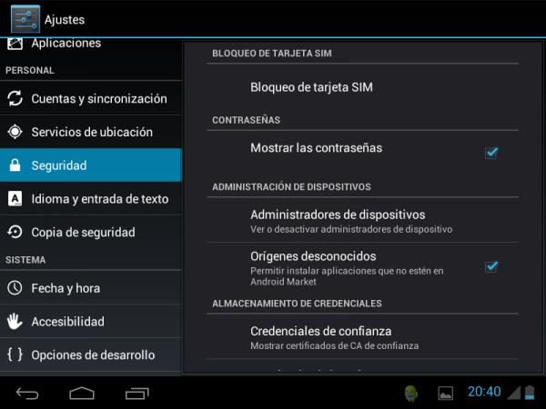 """Permitir en Android instalaciones de """"Orígenes desconocidos"""""""