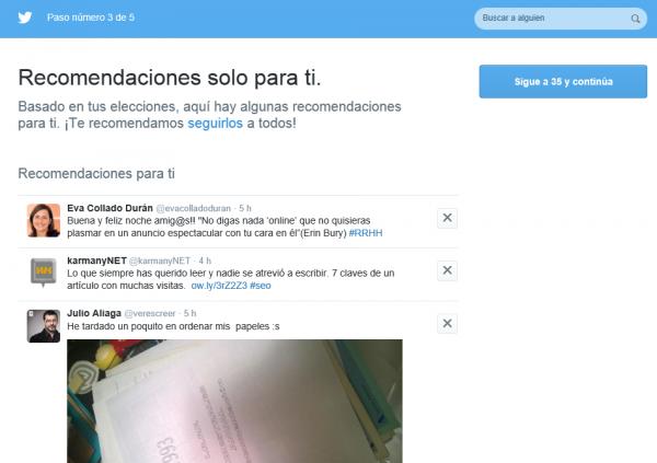 Twitter: Recomendaciones solo para ti