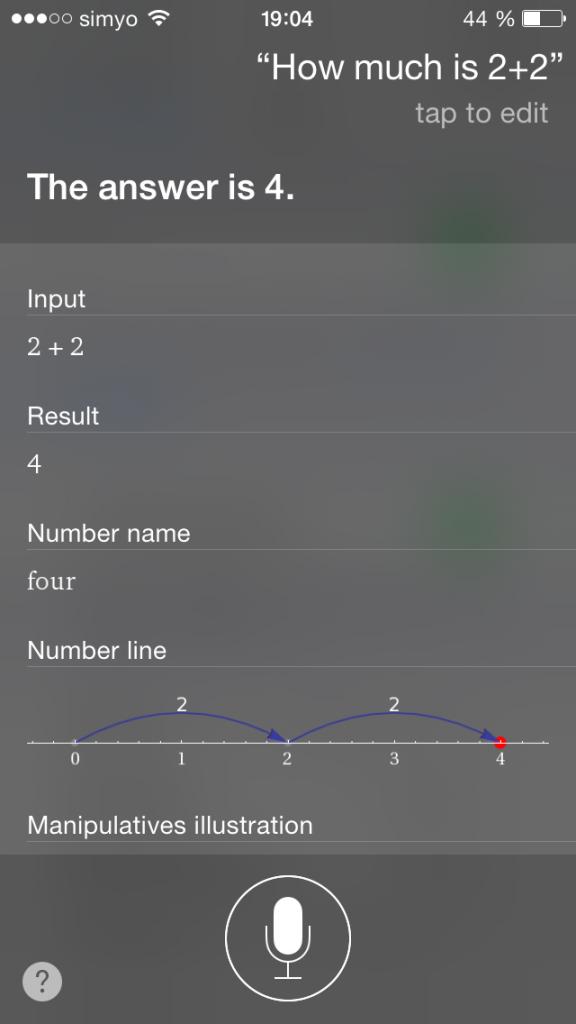 Siri, ¿cuánto son 2 y 2?