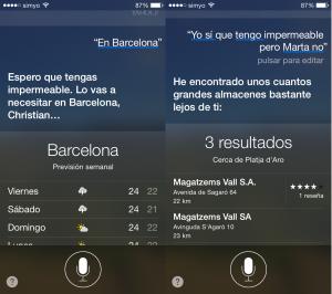 Previsión del tiempo para Barcelona (y recomendaciones de Siri)